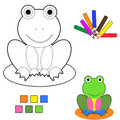 Coloring book sketch : frog Stock Photo