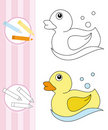 Coloring book sketch: rubber duck Stock Image