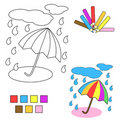 Coloring book sketch : umbrella Royalty Free Stock Images