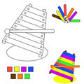 Coloring book sketch : xylophone Royalty Free Stock Images