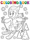 Coloring book skiing boy theme Royalty Free Stock Photo