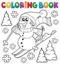Coloring book skiing snowman theme 1