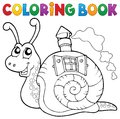 Coloring book snail with shell house Royalty Free Stock Photo