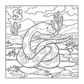 Coloring book snake colorless illustration letter s for children Stock Images