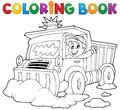 Coloring book snow plough eps vector illustration Royalty Free Stock Photo