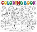 Coloring book snowmen carol singers Royalty Free Stock Photo