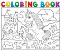 Coloring book standing unicorn theme 2