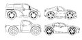 Coloring book stylized cars set with big wheels Stock Photography