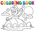 Coloring book submarine with sailor