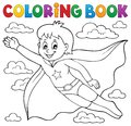 Coloring book super hero boy theme 1 Royalty Free Stock Photo
