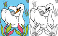 Coloring book swan Stock Photography