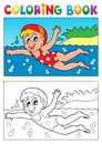 Coloring book swimming theme eps vector illustration Stock Images