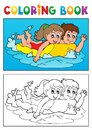 Coloring book swimming theme eps vector illustration Royalty Free Stock Photo