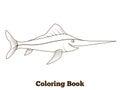 Coloring book swordfish fish cartoon illustration
