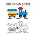 Coloring book the train with a wagon for the kids