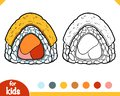 Coloring book, Triangle sushi roll with omelet