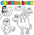 Coloring book with tropic animals 3 Royalty Free Stock Photos