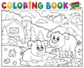 Coloring book two pigs near farm