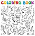 Coloring book various fish theme eps vector illustration Stock Photo