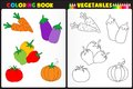Coloring book vegetables nature page for kids with colorful and sketches to color Stock Images