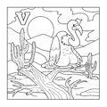 Coloring book (vulture), illustration (letter V)