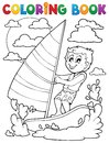 Coloring book water sport theme eps vector illustration Stock Photography