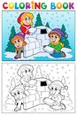 Coloring book winter topic 4 Stock Photography