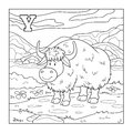 Coloring book yak colorless illustration letter y for children Royalty Free Stock Images