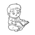 Coloring book, Young boy reading a book Royalty Free Stock Photo