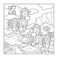 Coloring book (zebra), colorless alphabet for children: letter Z