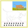 Coloring bull book of wild animals Stock Photo