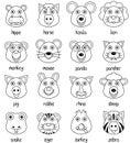 Coloring Cartoon Animal Faces Set [2]