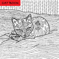 Coloring cat page for adults. Adorable baby kitten lying on the sofa. Hand drawn illustration with patterns.