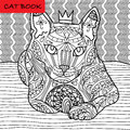 Coloring cat page for adults. Majestic cat with the crown looks pensive. Hand drawn illustration with patterns.