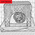 Coloring cat page for adults. Serious cat sits in his cat house. Hand drawn illustration with patterns.
