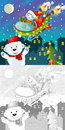 The coloring christmas page with colorful preview greeting card illustration for children Royalty Free Stock Image