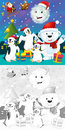 The coloring christmas page with colorful preview greeting card illustration for children Stock Photography