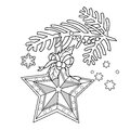 Coloring Coloring Page Outline Of Christmas decoration. Star. Christmas tree branch. New year
