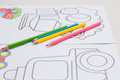 Coloring with crayons for baby Royalty Free Stock Photo