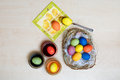 Coloring easter eggs wooden table Royalty Free Stock Photo