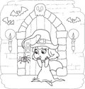 Coloring Halloween little witch Royalty Free Stock Photo