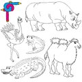 Coloring image wild animals vector illustration Royalty Free Stock Photography