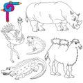 Coloring image wild animals 02 Royalty Free Stock Photo