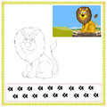 Coloring lion book of wild animals Royalty Free Stock Photography