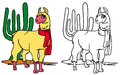 Coloring llama Royalty Free Stock Photo