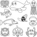 Coloring Marine Animals [2] Royalty Free Stock Photos