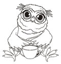 Coloring owl with a cup