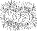 Coloring page for adults with mandala and happy word. Doodle let Royalty Free Stock Photo