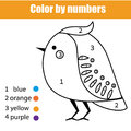 Coloring page with bird. Color by numbers educational children game, drawing kids activity