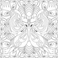 Coloring Page Book for Adults Square Format Butterfly Foliage Design Vector Illustration